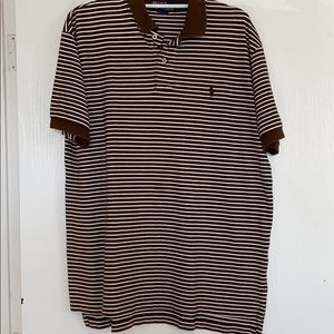 Brown and White Striped Polo